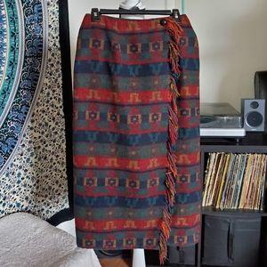 VTG Aztec Print Blanket Wrap Skirt